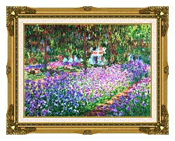 Claude Monet The Artists Garden At Giverny Detail canvas with museum ornate gold frame