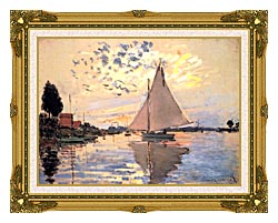 Claude Monet Sailboat At Petit Gennevilliers canvas with museum ornate gold frame