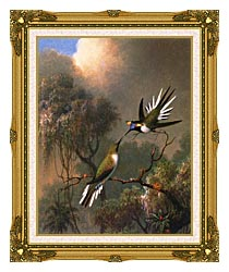 Martin Johnson Heade Two Sungems On A Branch canvas with museum ornate gold frame