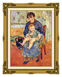 Pierre Auguste Renoir Mother And Child In A Chair canvas with museum ornate gold frame