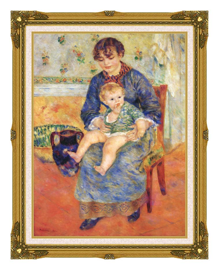 Pierre Auguste Renoir Mother and Child in a Chair with Museum Ornate Frame w/Liner