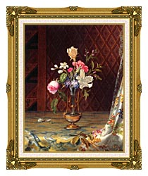 Martin Johnson Heade Vase Of Mixed Flowers canvas with museum ornate gold frame