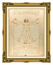 Leonardo Da Vinci Vitruvian Man canvas with museum ornate gold frame