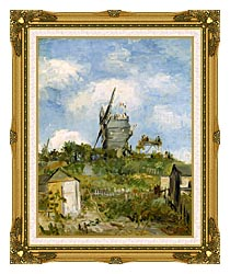 Vincent Van Gogh Blute Fin Windmill Montmartre canvas with museum ornate gold frame