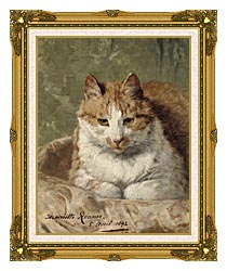 Henriette Ronner Knip Carefree Cat canvas with museum ornate gold frame