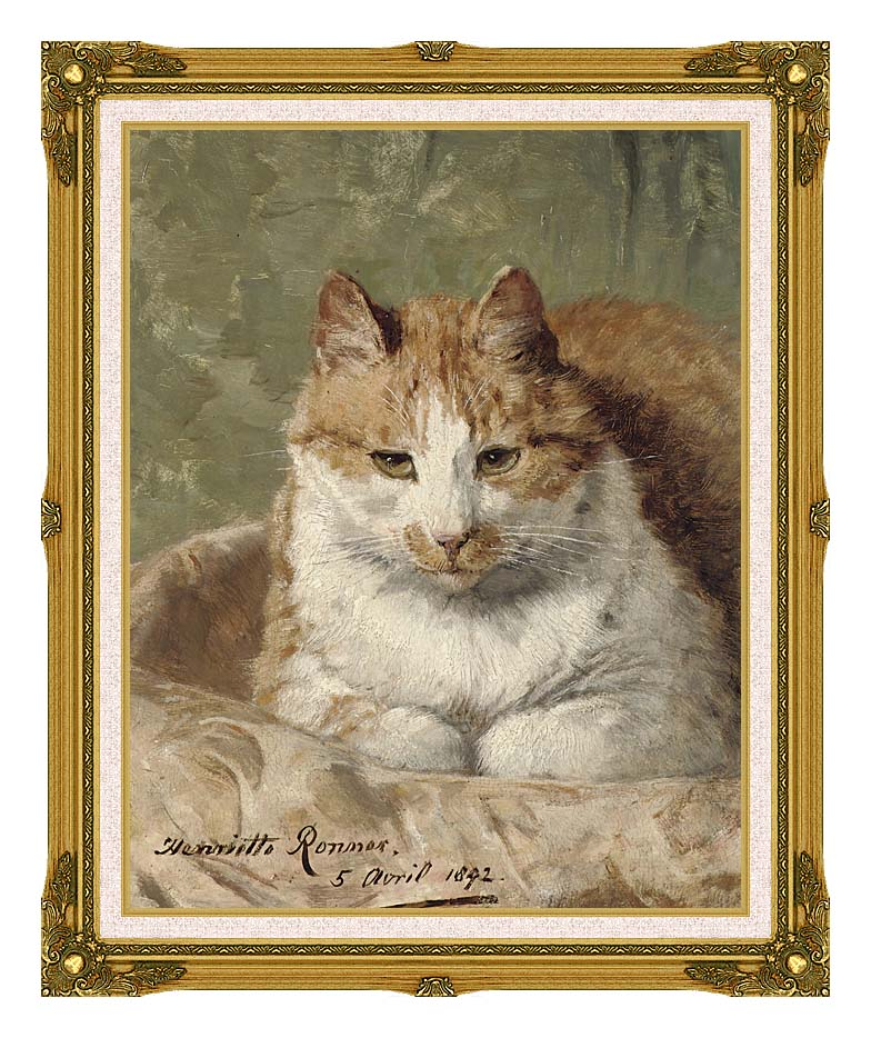 Henriette Ronner Knip Carefree Cat with Museum Ornate Frame w/Liner