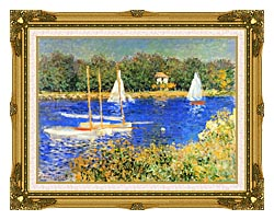 Claude Monet Sailboats At The Basin At Argenteuil canvas with museum ornate gold frame