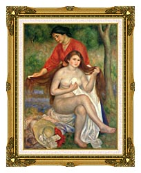 Pierre Auguste Renoir Bather And Maid canvas with museum ornate gold frame