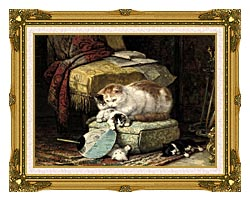 Henriette Ronner Knip A New Place To Hide canvas with museum ornate gold frame