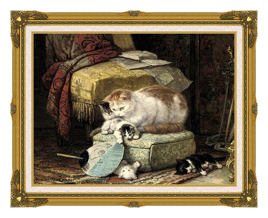 Henriette Ronner Knip A New Place to Hide with Museum Ornate Frame w/Liner