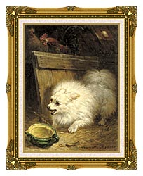 Henriette Ronner Knip In The Barn canvas with museum ornate gold frame