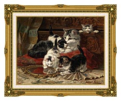 Henriette Ronner Knip Mother And Kittens Playing With A Hand Mirror canvas with museum ornate gold frame