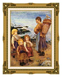 Pierre Auguste Renoir Mussel Fishers At Berneval canvas with museum ornate gold frame
