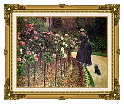 Gustave Caillebotte Roses Garden At Petit Gennevilliers canvas with museum ornate gold frame