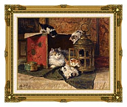 Henriette Ronner Knip A Mother Cat Watching Her Kittens Playing canvas with museum ornate gold frame