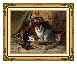 Henriette Ronner Knip A Cat And Her Kittens At Play canvas with museum ornate gold frame