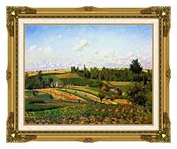 Camille Pissarro Harvest Landscape At Pontoise canvas with museum ornate gold frame