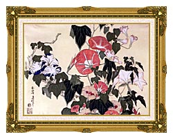 Katsushika Hokusai Morning Glories And Tree Frog canvas with museum ornate gold frame