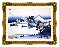 Katsushika Hokusai Fuji Seen From Shichirigahama Beach In The Sagami Province canvas with museum ornate gold frame
