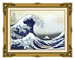 Katsushika Hokusai The Great Wave At Kanagawa canvas with museum ornate gold frame