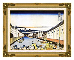 Katsushika Hokusai Mount Fuji And Edo Castle Seen From Nihonbashi canvas with museum ornate gold frame