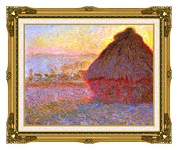 Claude Monet The Grainstack Sunset canvas with museum ornate gold frame