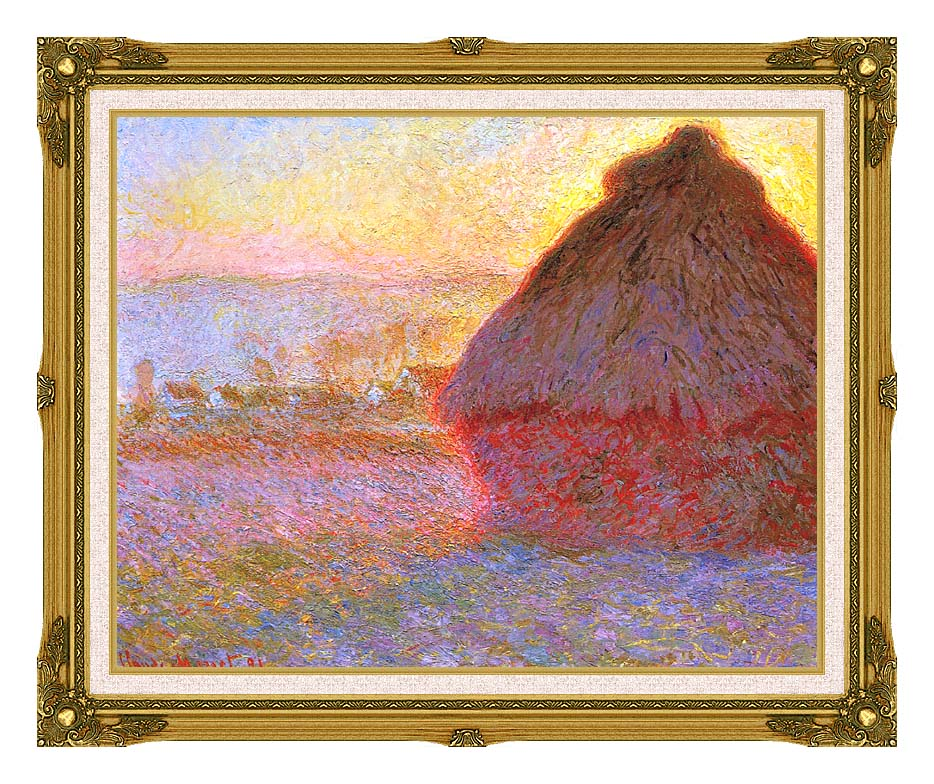 Claude Monet The Grainstack, Sunset with Museum Ornate Frame w/Liner