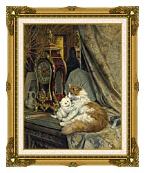 Henriette Ronner Knip A Mother Cat And Her Kitten With A Bracket Clock canvas with museum ornate gold frame