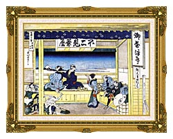 Katsushika Hokusai People Admiring Mount Fuji From A Tearoom At Yoshida canvas with museum ornate gold frame