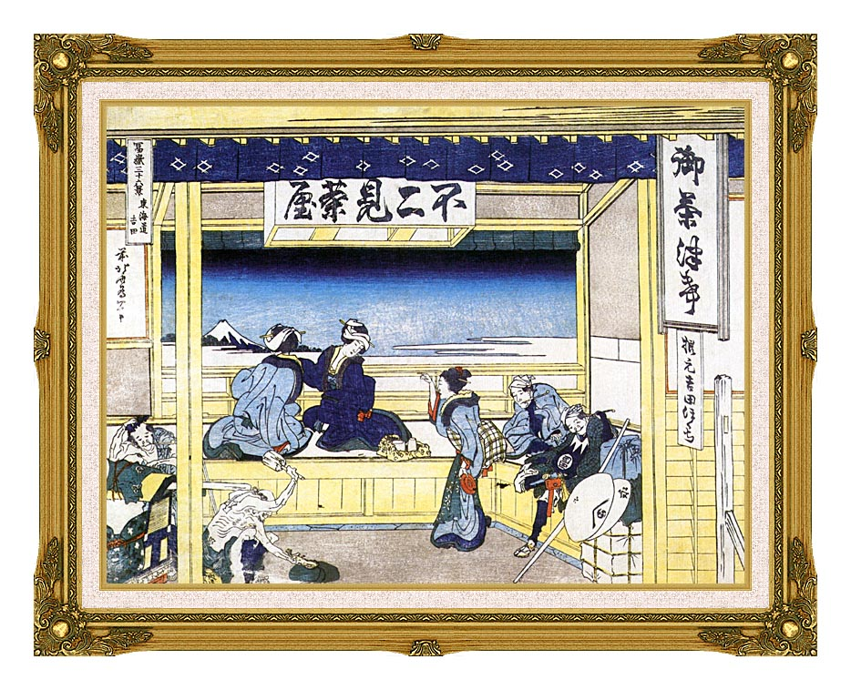 Katsushika Hokusai People Admiring Mount Fuji from a Tearoom at Yoshida with Museum Ornate Frame w/Liner