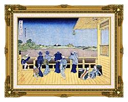 Katsushika Hokusai People On The Balcony Of The Gohyaku Rakan Temple canvas with museum ornate gold frame