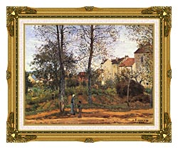Camille Pissarro Landscape At Louveciennes canvas with museum ornate gold frame