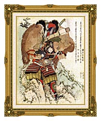 Katsushika Hokusai The Warrior Hatakeyama Shigetada Carrying His Horse Down The Hill After It Had Been Injured canvas with museum ornate gold frame