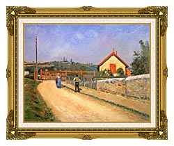 Camille Pissarro Railway Crossing At Patis Near Pontoise canvas with museum ornate gold frame