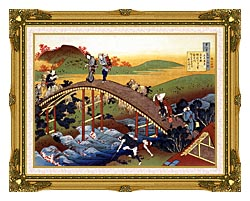 Katsushika Hokusai Travelers On The Bridge Near The Ono Waterfall On The Kisokaido Road canvas with museum ornate gold frame