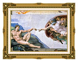 Michelangelo Buonarroti The Creation Of Adam canvas with museum ornate gold frame