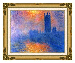 Claude Monet Houses Of Parliament London Sun Breaking Through The Fog canvas with museum ornate gold frame