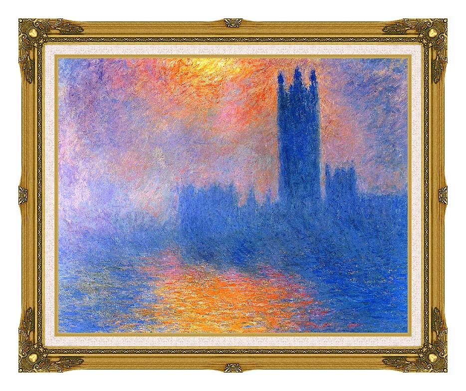 Claude Monet Houses of Parliament, London, Sun Breaking Through the Fog with Museum Ornate Frame w/Liner