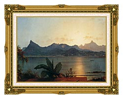 Martin Johnson Heade Sunset Harbor At Rio De Janeiro Detail canvas with museum ornate gold frame