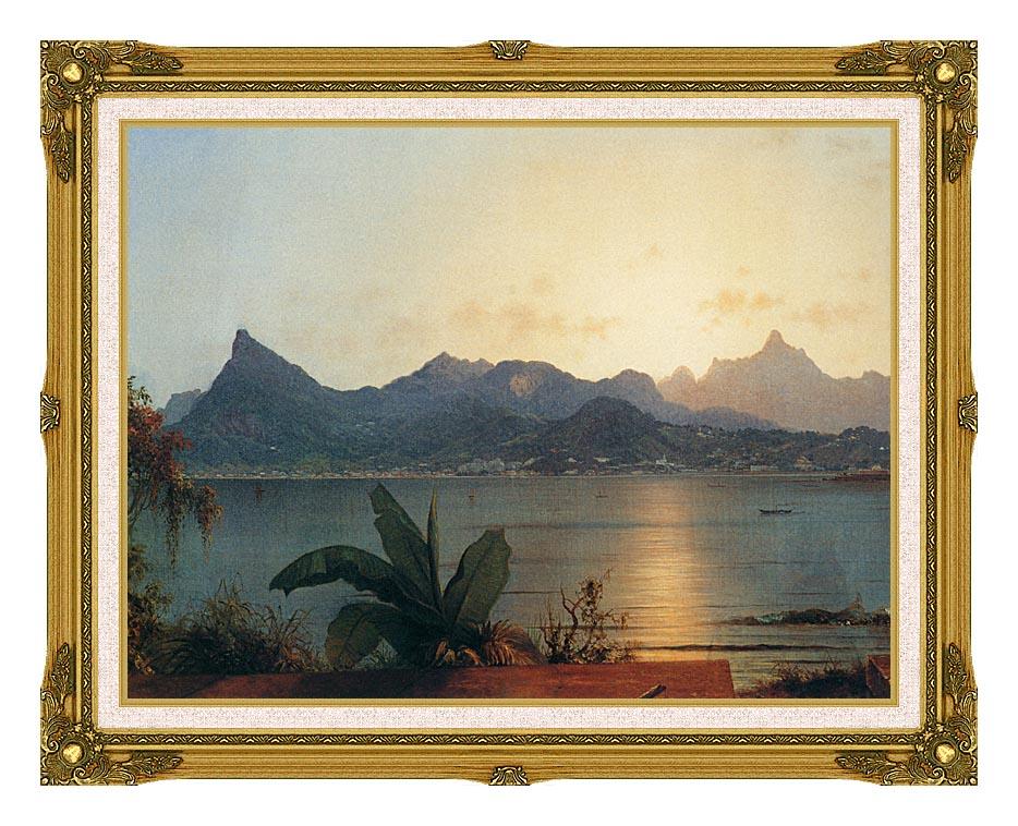 Martin Johnson Heade Sunset Harbor at Rio de Janeiro (detail) with Museum Ornate Frame w/Liner