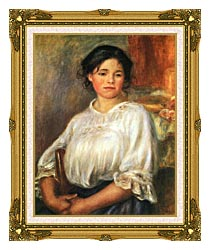 Pierre Auguste Renoir Young Girl Seated canvas with museum ornate gold frame