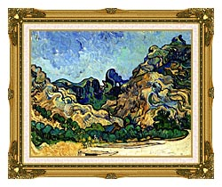 Vincent Van Gogh Mountains At Saint Remy canvas with museum ornate gold frame