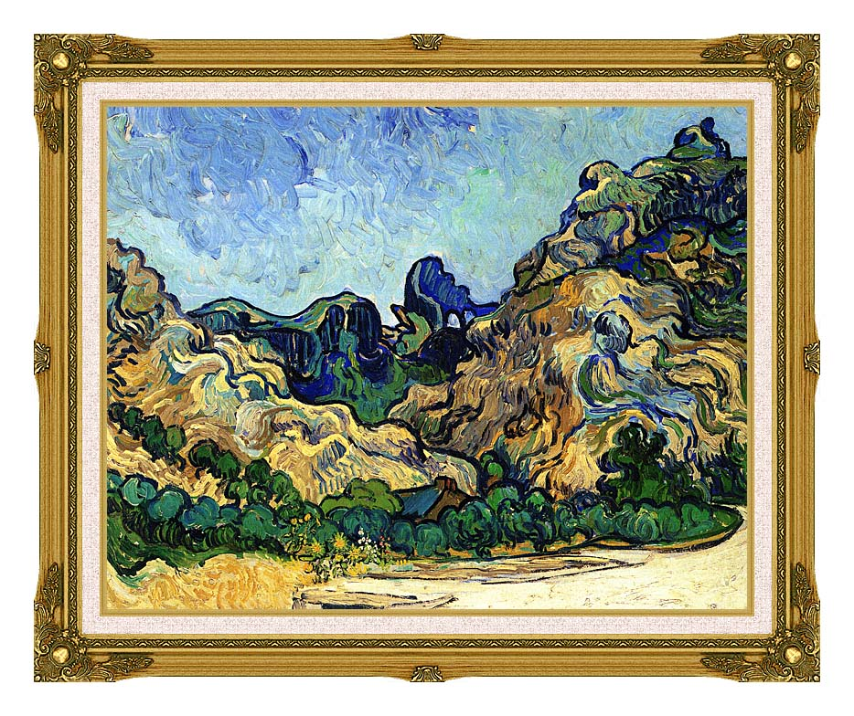 Vincent van Gogh Mountains at Saint Remy with Museum Ornate Frame w/Liner