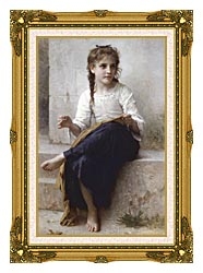 William Bouguereau Young Seamstress Sewing canvas with museum ornate gold frame