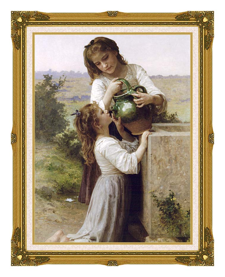 William Bouguereau At the Fountain with Museum Ornate Frame w/Liner