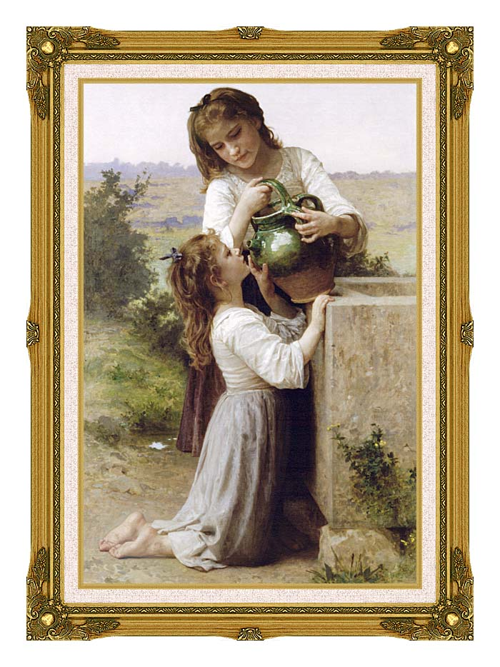 William Bouguereau Girls At the Fountain with Museum Ornate Frame w/Liner