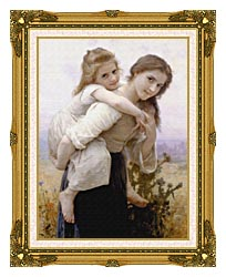 William Bouguereau Not Too Much To Carry canvas with museum ornate gold frame
