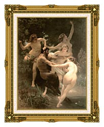 William Bouguereau Nymphs And Satyr canvas with museum ornate gold frame