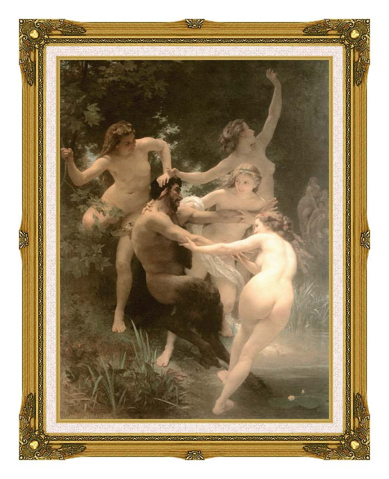 William Bouguereau Nymphs and Satyr with Museum Ornate Frame w/Liner