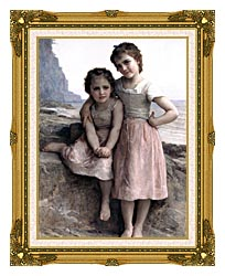 William Bouguereau On The Rocky Beach canvas with museum ornate gold frame